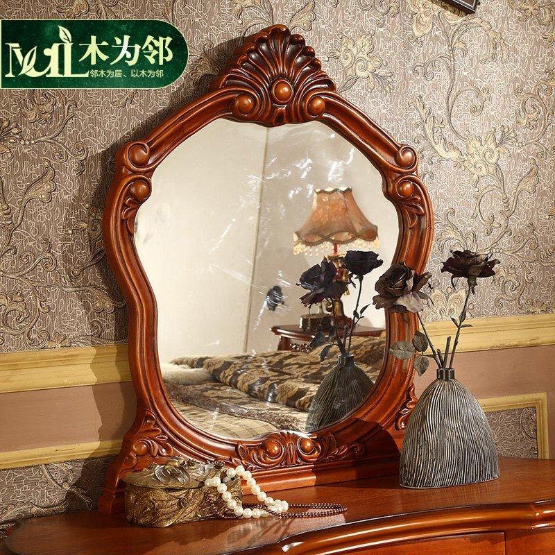 大户型主卧实木美式妆台镜组合 欧式梳妆台 化妆桌带凳梳妆柜组合