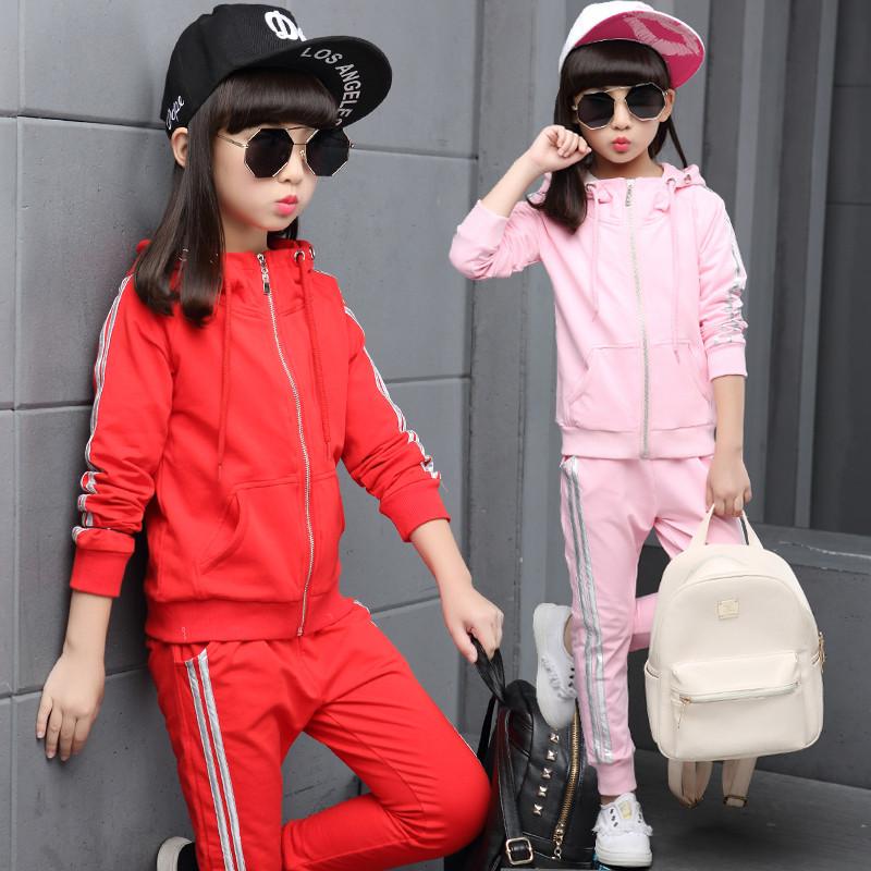 儿童春装2017新款春季时尚两件套小孩子衣服女童休闲运动长袖套装 sa