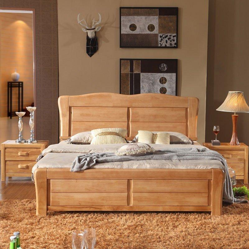 8米双人床1 8全实木结婚床架大床2米木质橡木床榉木色