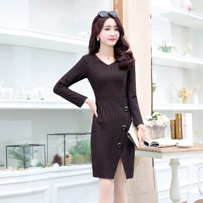 ��c`y��y��9��9�-yol_c2016秋季新款中年女士ol通勤裙子 气质优雅v领包臀裙
