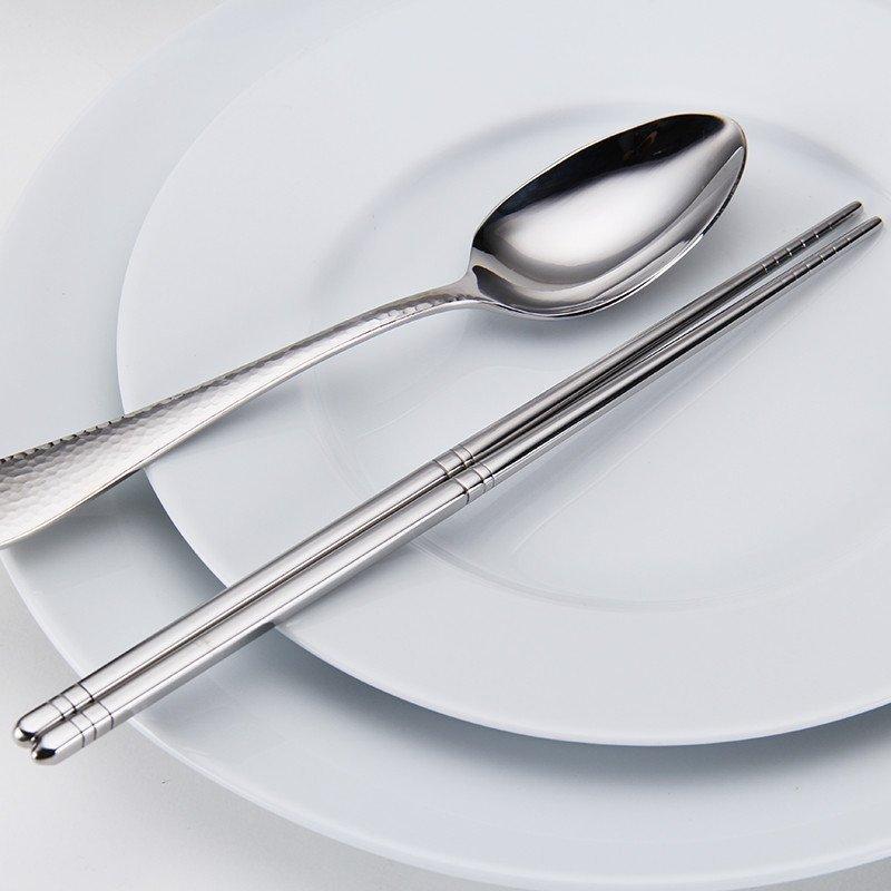 朗维(landway)抗菌不锈钢餐具 缤纷餐勺中勺汤勺调羹筷子2件套 中式餐