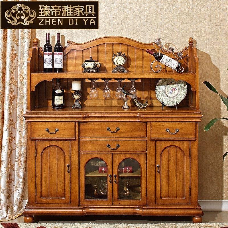 美式实木餐边柜酒柜厨房储物柜仿古欧式田园小边柜茶水备餐柜家具