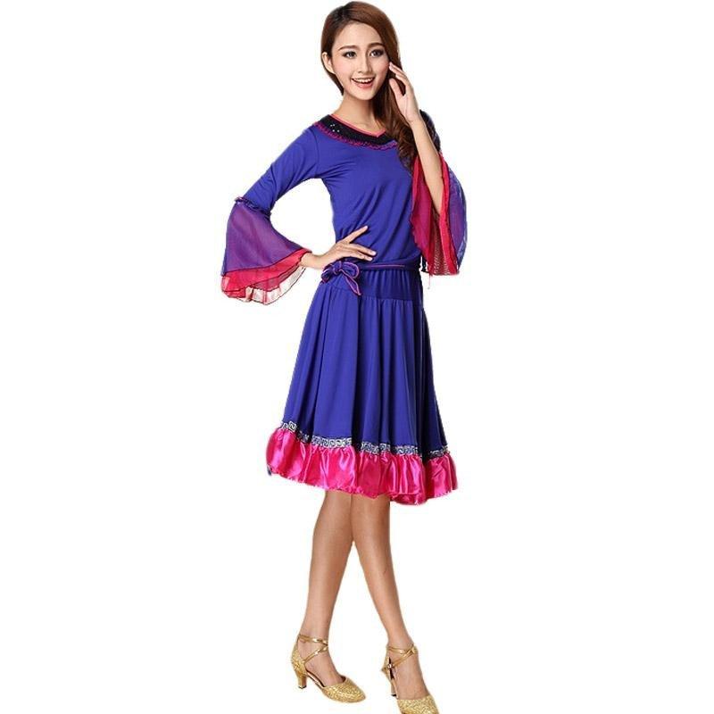 潮流女士舞蹈服广场舞服装两件套套装成人拉丁舞现代舞裙子舞台演出图片
