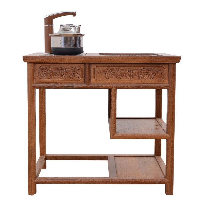 红木家具 鸡翅木电磁炉茶几 实木茶台茶水柜原木小茶桌 功夫茶几 jcm