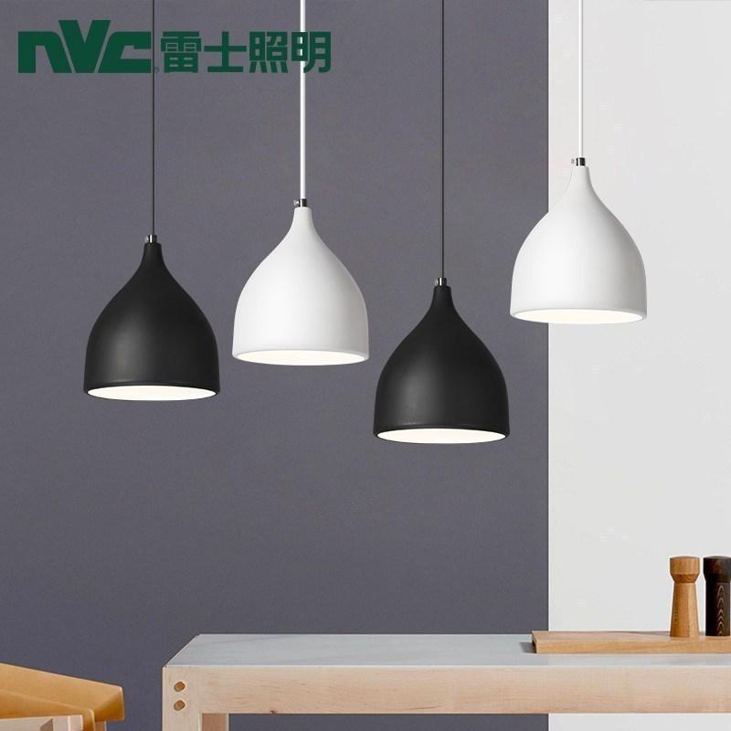 雷士照明(nvc)北欧吸顶灯极简水滴造型黑白单头吊灯创意灯具个性卧室