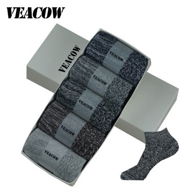 VEACOW 【5雙裝】 男士復古粗線條時尚船襪 個性民族風棉襪