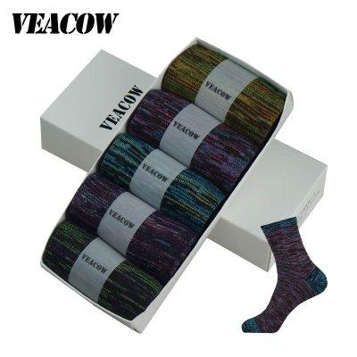 VEACOW 【5双装】 男士炫彩拼色潮流高品质中筒袜 复古民族风个性棉袜 礼盒装