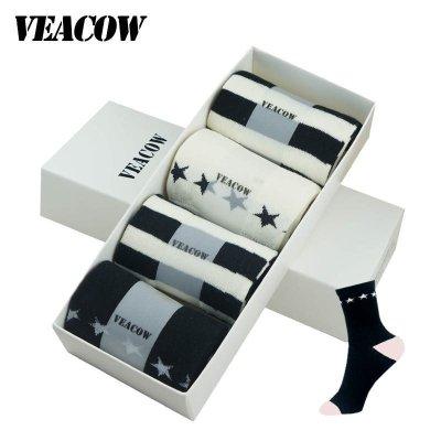 VEACOW 【4双装】女袜黑白配日系条纹星星原宿风中筒棉袜礼盒装