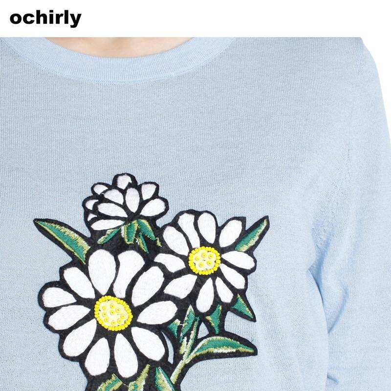ochirly欧时力2017新女春装刺绣花朵图案套头针织衫1jy1033350