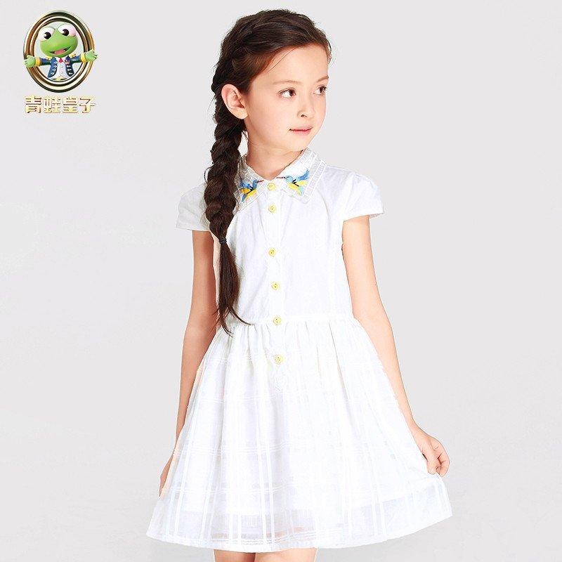 青蛙皇子童装女童连衣裙夏装2016新款中大童欧根纱公主裙儿童裙子