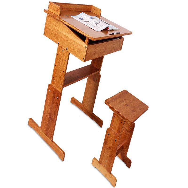 户外运动竹制学生桌椅 学习桌椅套装 可升降课桌椅中小学生书桌