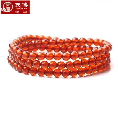 左傳 高品質橙紅色石榴石108顆5mm 三圈效果 手鏈 手串