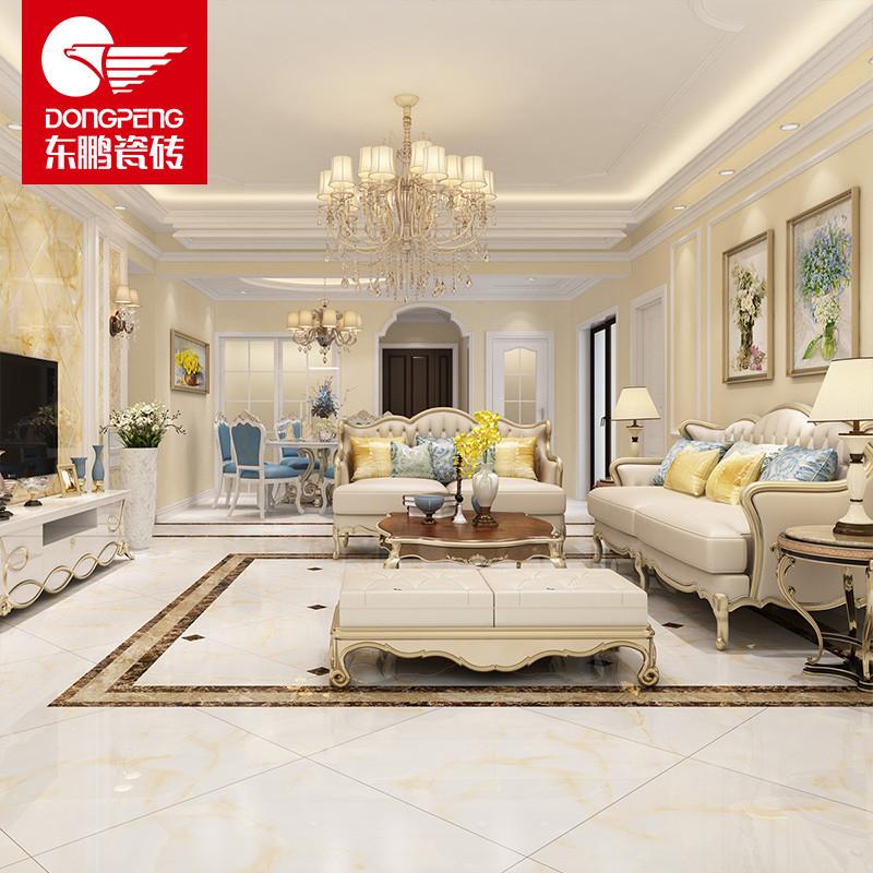 东鹏瓷砖 臻皇玉 客厅全抛釉地砖 简约现代 地板砖瓷砖