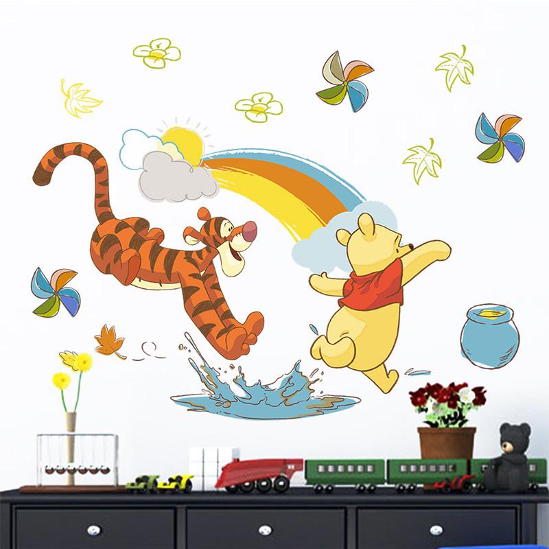 迪士尼正品 可爱卡通维尼熊跳跳虎装饰贴画儿童房卧室
