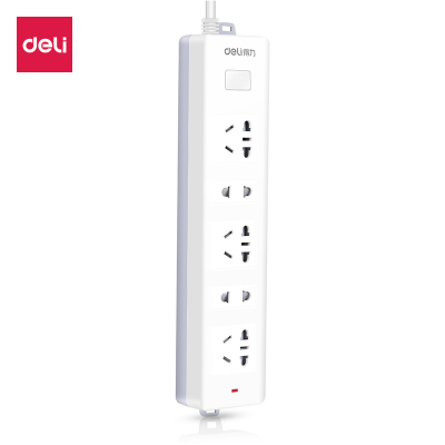 得力deli18252安全插座2米帶線電插板5孔接線板排插拖線板電源插線板辦公文具