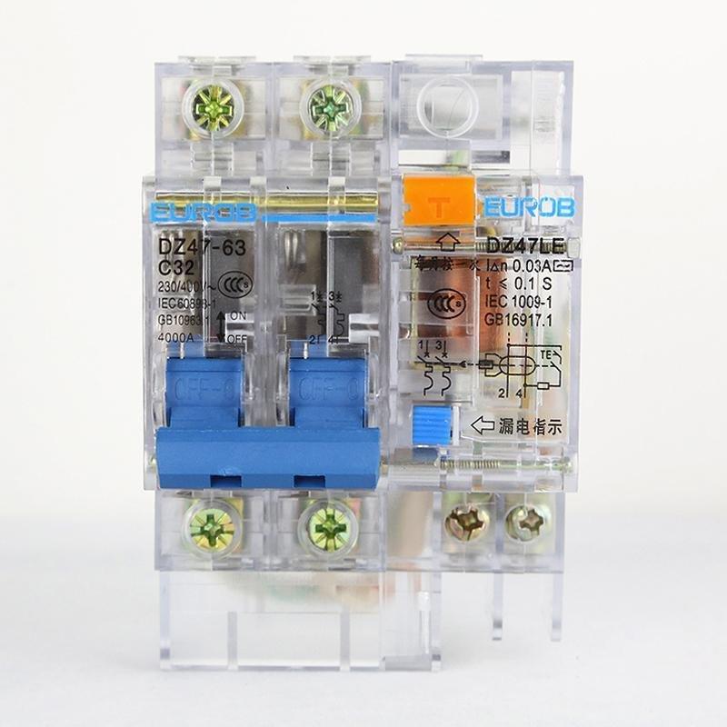 欧奔漏电保护器 总开关透明型漏保2p32a c32