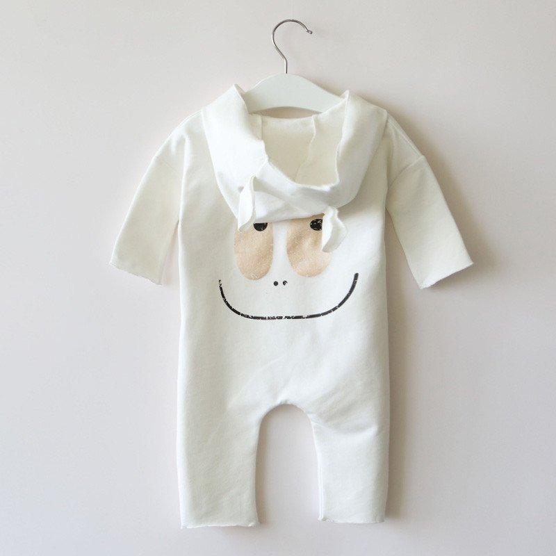 淘气麦兜婴儿连体衣带帽 春秋装0-3-6个月宝宝哈衣可爱爬服新款潮