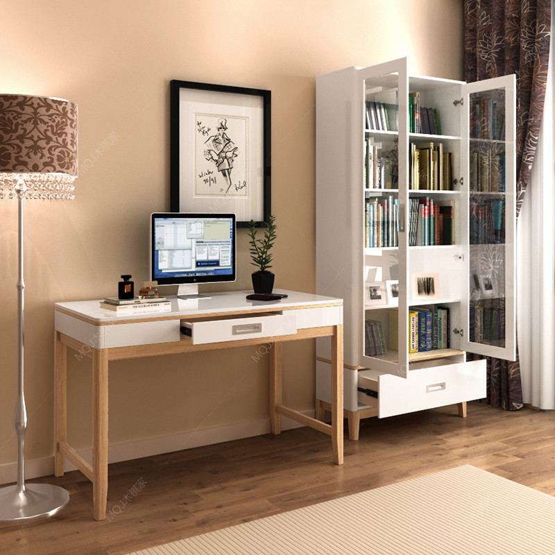 简约现代书房 北欧书桌 钢琴烤漆 家用组合 书房写字台