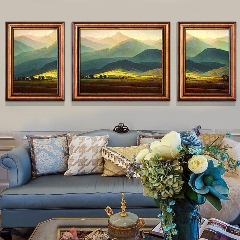 檸檬樹 美式客廳裝飾畫現代沙發背景墻掛畫歐式餐廳玄關山水壁畫