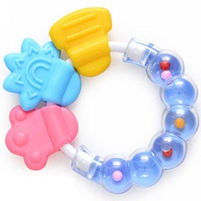 盟宝婴儿手摇铃牙胶 磨牙棒硅胶 磨牙棒牙胶 响铃牙胶 兰色