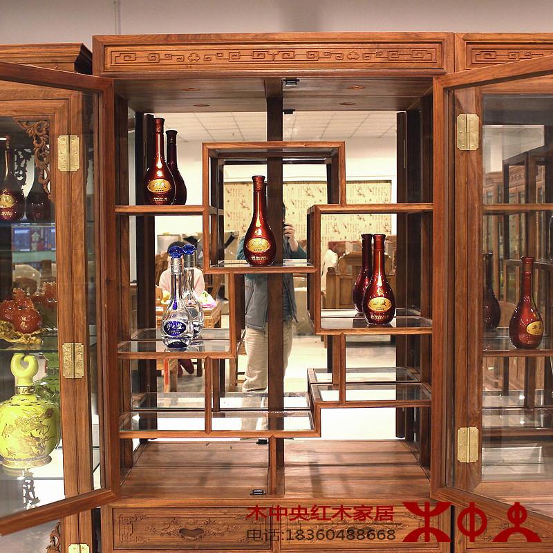 酒柜 实木中式玻璃酒架 非洲黄花梨木两门红酒厨1米 餐厅隔断 餐边柜