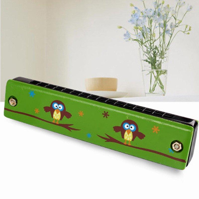 小皇帝木制手绘彩色口琴亲子教具 木质宝宝乐器音乐玩具mz67758
