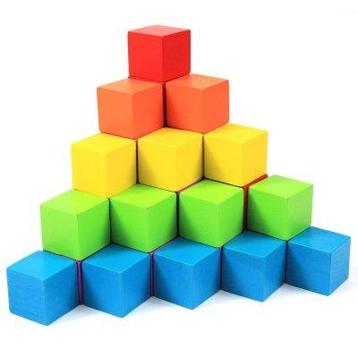 100粒大块木制正方体立方体积木蒙氏数学教具儿童益智玩具几何 彩色