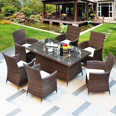 幽之腾 户外家具 藤编阳台休闲桌椅室内外庭院茶几组合咖啡桌椅 一桌