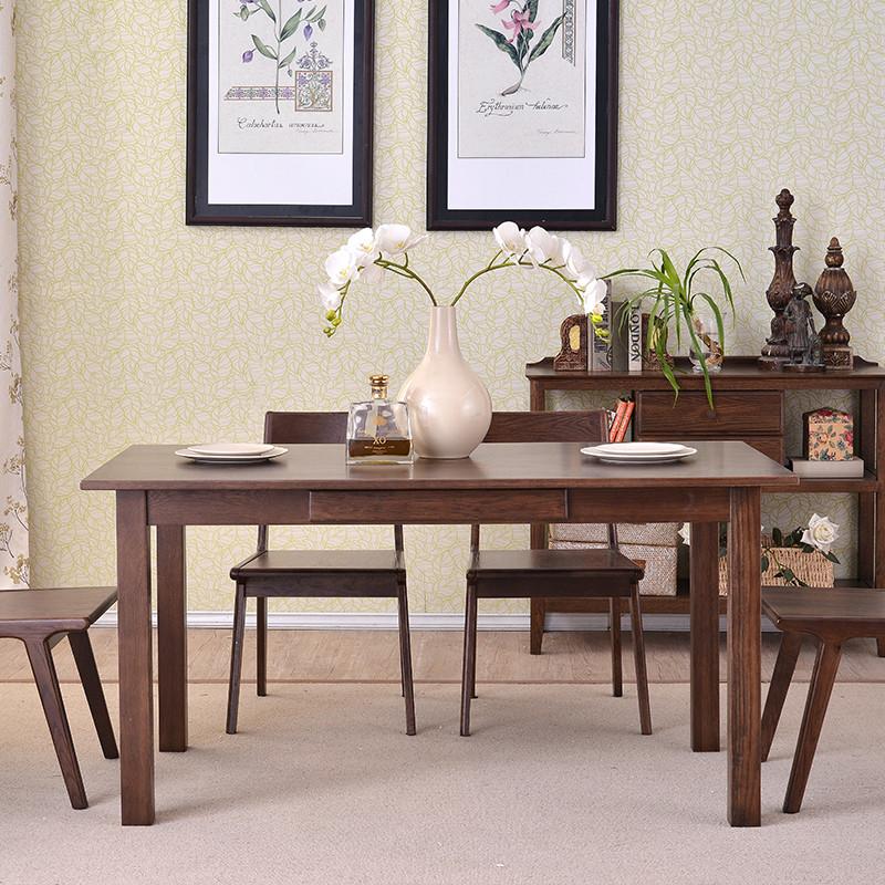 天空树 实木家具 纯实木餐桌椅 现代美式风格 白橡木餐桌简约现代 带
