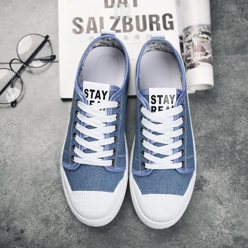 绅洛潮牌英伦夏季中学生帆布鞋韩版贝壳平底板鞋防水台休闲鞋蓝色小