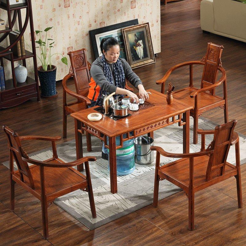 粤顺家具实木小茶桌子红木功夫茶几花梨木客厅阳台办公室茶台368