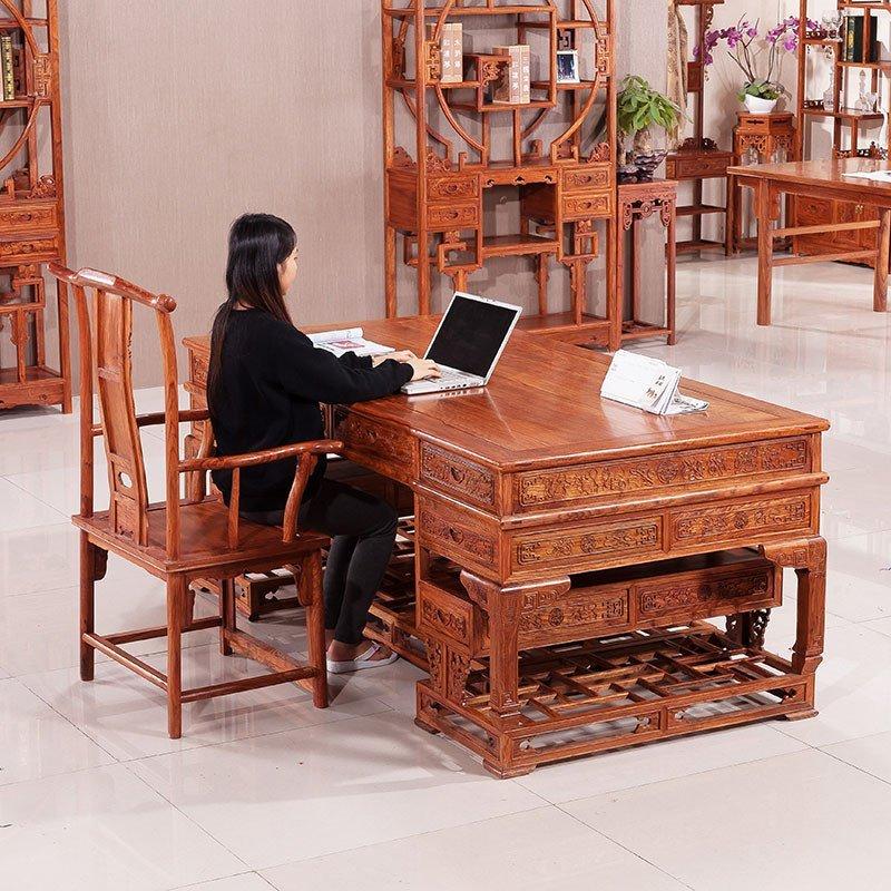 粤顺 红木办公桌 全花梨实木中式明清仿古家具弯角书桌椅组合b30