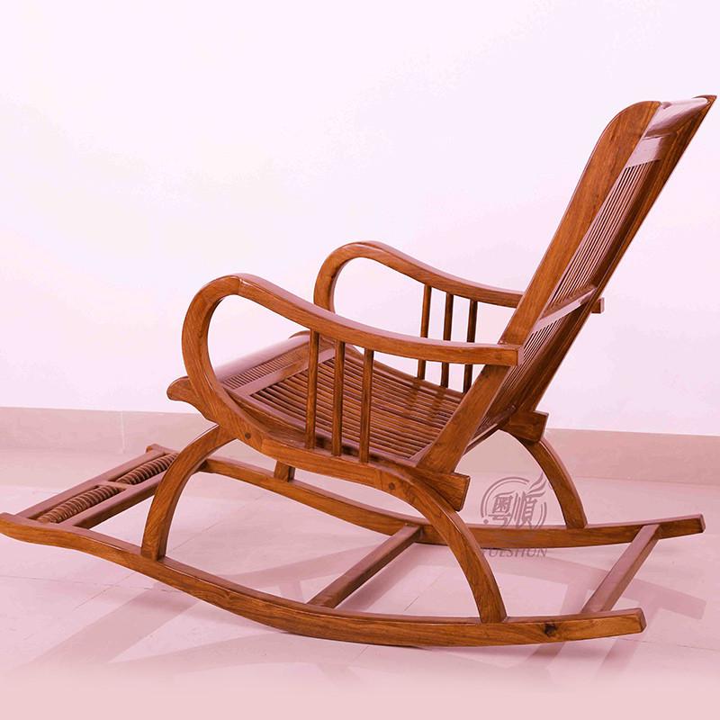 粤顺红木摇椅 花梨木睡椅 实木椅子 仿古家具老人沙发