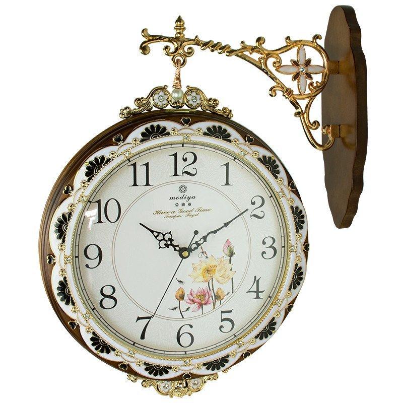创意壁钟挂复古花纹表两面钟石英钟钟表艺术石英钟