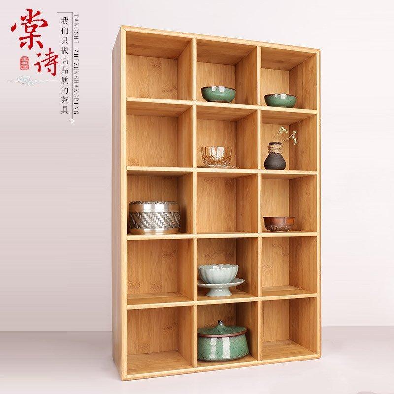 棠诗茶具博古架子茶杯柜茶壶收纳柜茶杯架竹制茶具架功夫茶杯架 9格