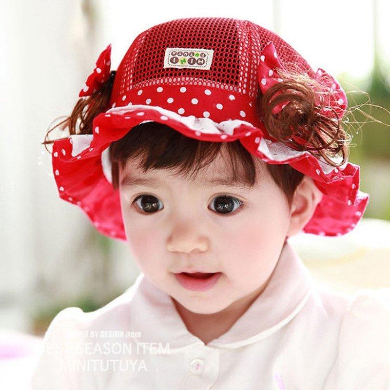 medo&jojo 夏季小女孩假发帽0-1-2岁儿童盆帽网帽女童图片