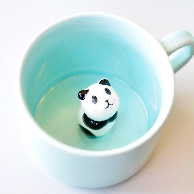 大润窑 立体动物咖啡杯 可爱陶瓷水杯创意马克杯带盖勺 清新萌迷你小