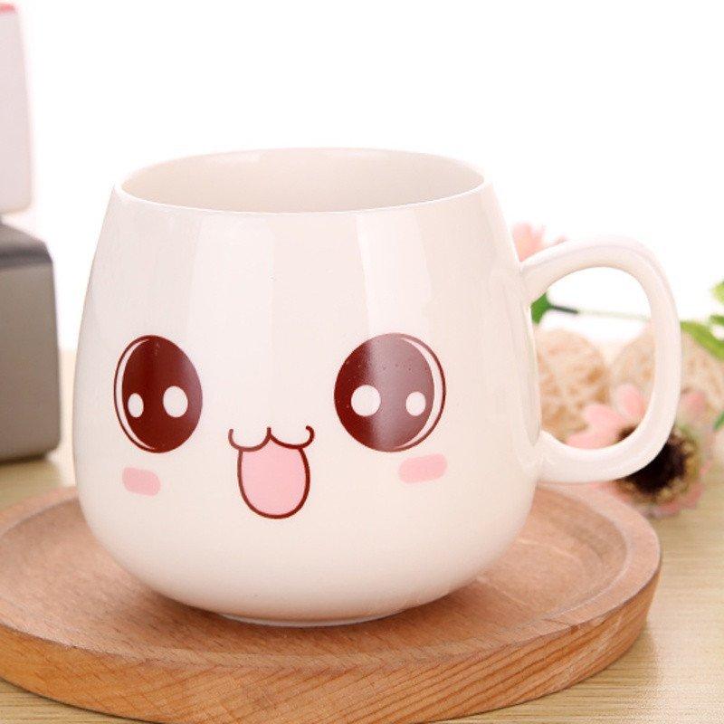 可爱卡通骨瓷陶瓷杯子简约马克水杯早餐咖啡杯茶杯带盖带勺