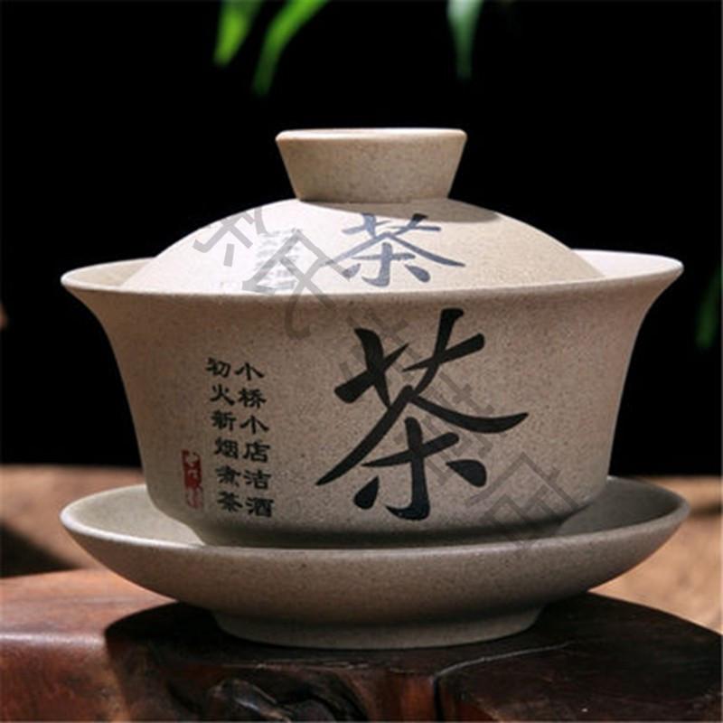 粗陶盖碗陶瓷功夫茶具盖碗三才碗杯泡茶盖碗茶杯大号