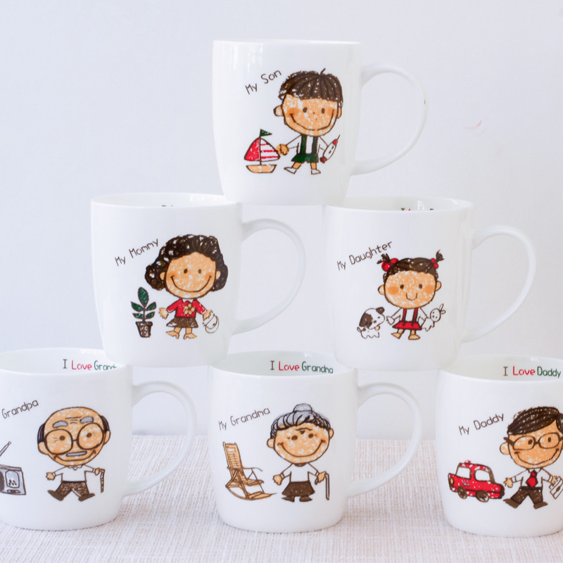 可爱卡通创意牛奶杯咖啡杯茶杯喝水杯马克杯亲子家庭套装陶瓷杯子