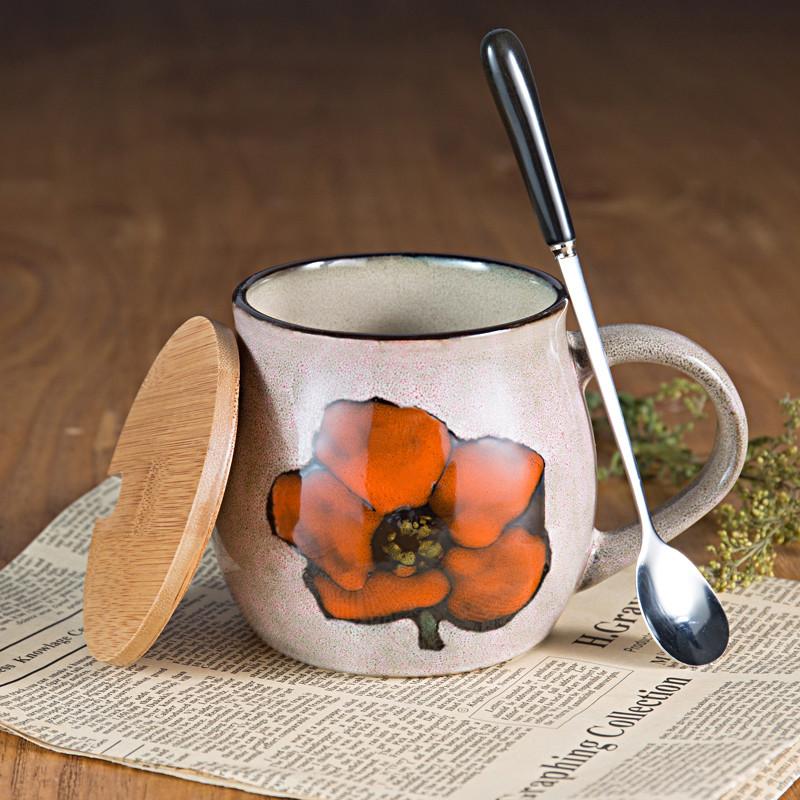 创意手绘早餐杯带盖勺复古陶瓷马克杯大容量麦片个性水杯牛奶杯子
