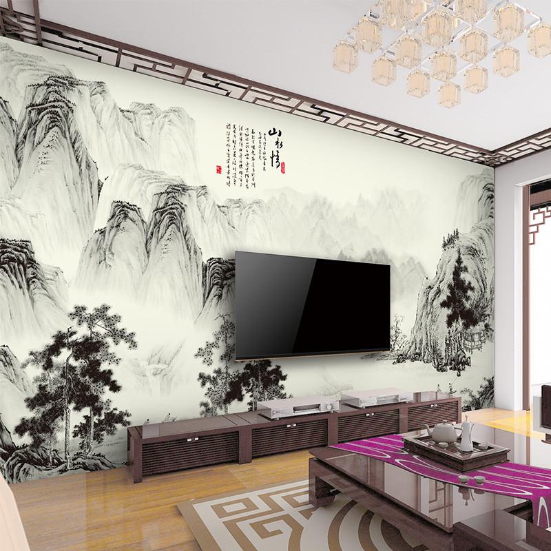 徐健 新中式大型山水壁画定制电视背景墙壁纸简约墙纸