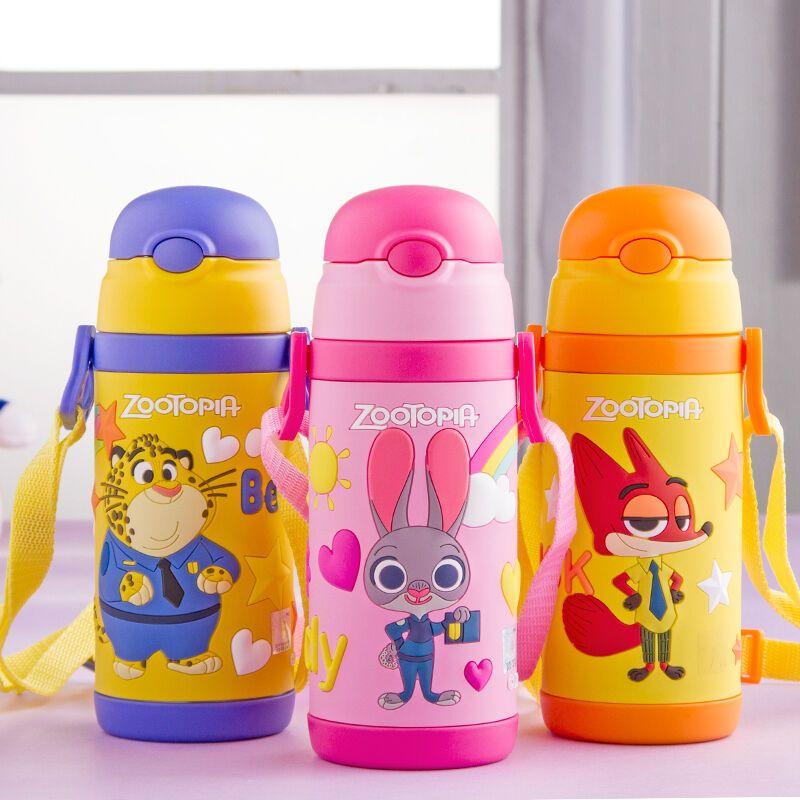 迪士尼 疯狂动物城 背带手柄 350ml 儿童水杯吸管杯宝宝保温杯带手柄
