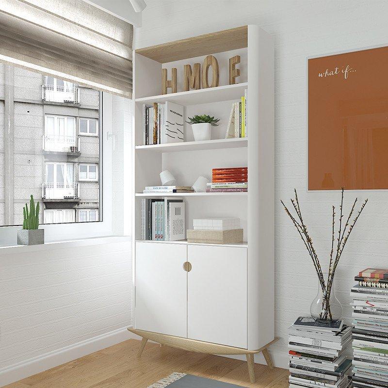 斯品家居 泊系列书柜 白蜡木实木底座 简约北欧书柜 客厅书房储物柜子