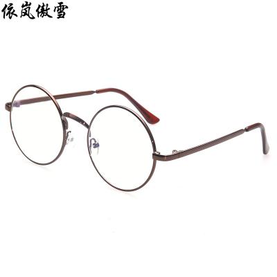 依岚傲雪复古眼镜框男款潮韩版圆形近视眼镜架女全框金属平光镜防辐射眼镜