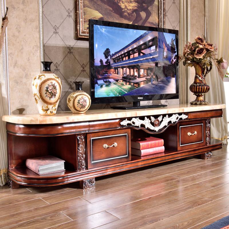 永旭家具 欧式大理石电视柜组合套装天然米黄玉石面实木储物柜大户型