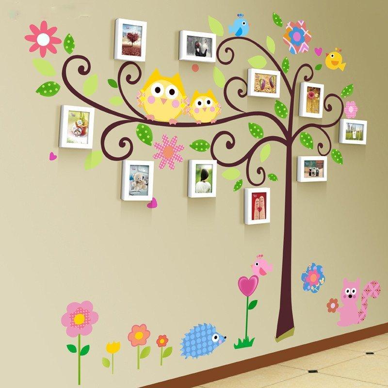 沐坤 儿童房墙贴画 10框实木组合相片墙照片墙幼儿园宝宝房装饰壁画