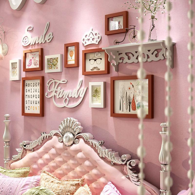 创意床头装饰画实木照片墙相片墙卧室挂墙儿童房壁画置物架组合 胡白