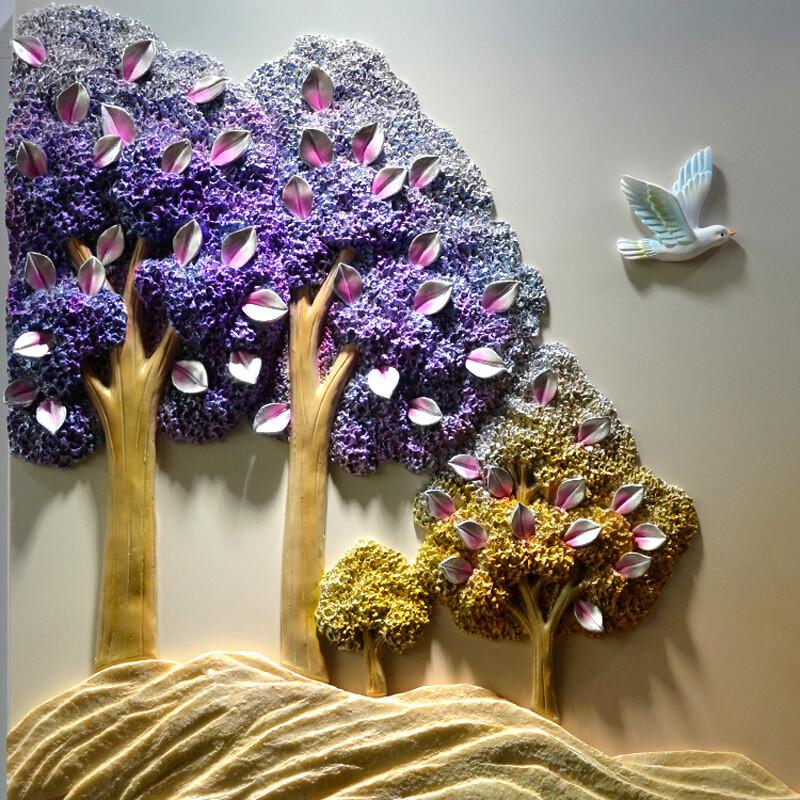 沐坤手工立体浮雕画客厅装饰画现代简约三联无框墙画壁画