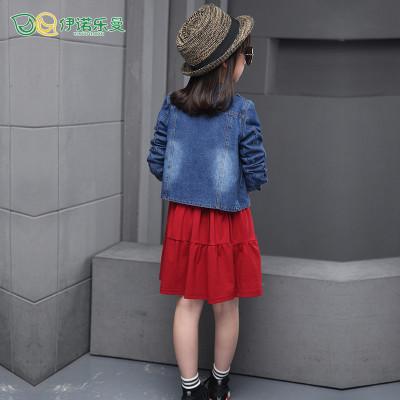 牛仔衣服连衣裙儿童2016新款秋天秋款长袖二件套13岁5大号7休闲8韩版